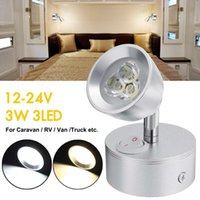 ingrosso lampade led 24v-Ruotabile LED Spot 12-24V lampada da parete chiara per camper Caravan crogiolo di camion Cucina Comodino Reading Desk