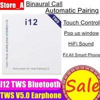 satış böğürtlen toptan satış-I12 tws v5.0 kulaklık kablosuz bluetooth kulaklık desteği pop up pencere dokunmatik kontrol kablosuz kulaklık kulakiçi sıcak satış 30 adet