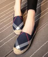 tembel tuval ayakkabıları toptan satış-Kadın rahat ayakkabılar yaz sonbahar moda marka nefes kanvas ayakkabılar tembel slip-on kadın ayakkabı kadınlar düz espadrilles