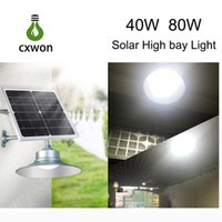 Wholesale bay lamps resale online - High Brightness Solar High Bay Lamp Aluminum SMD5730 IP65 W W High Bay Light with remote light control