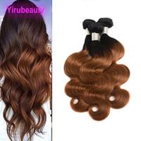 insan saç uzantıları ombre body wave toptan satış-Malezyalı% 100 İnsan Saç Üç Paketler 1B / 30 Ombre Saç Uzantıları Vücut Dalga Toptan 1B 30 Boyalı Saç Ürünleri