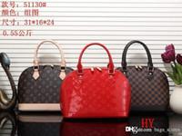 bolsos en línea al por mayor-Moda Mujer Marrón Clásico bolsos de cuero Diseñador de la marca Famous Lady L Hombro speedy alma feminina Bolsa 41526 en línea