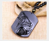 collier de totems de loup achat en gros de-Obsidian Wolf Head Collier Pendentif - Pierre De Loup Sculpté Totems Chanceux Amulette Perles Colliers Pour Femmes Hommes Cool Bijoux