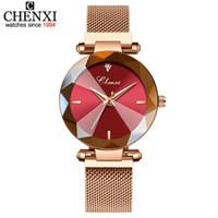 стальной ленточный конвейер оптовых-CHENXI 2019 Montre Femme женские кварцевые часы Gem Cut женское платье часы сетчатый пояс из нержавеющей стали женские Наручные часы