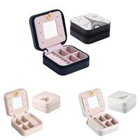 ingrosso scatole di viaggio di trucco-Custodia per gioielli da viaggio portatile Custodia per gioielli con cerniera in pelle PU Mini organizer per cosmetici da trucco con anello per orecchini con anello a specchio Regalo da donna