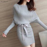 encantos de columna al por mayor-Y el encanto delgada caliente Paquete Envoltura de la cadera del suéter largo de la envoltura de la columna de la raya vertical Manga Ropa de diseño ajustado de cuello grueso suéter de otoño