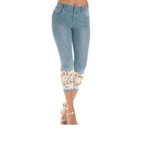 ingrosso capri denim di lunghezza ginocchio-Pantaloncini Donna Summer Knee Length Jeans Push Up Capris Jeans For Women Short jeans strappati Pantaloni Lace Skinny Shorts Denim Pant Y19042901