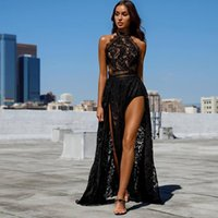 vestidos negros de hendidura al por mayor-2020 Sexy Afraic Girl Black Full Lace Prom Dress Sheer Back Vestidos de fiesta formales Side Slit Long Party Gown Custom Made
