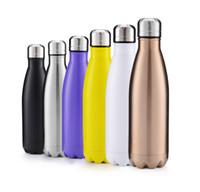 formas de botella al por mayor-Venta caliente 500 ML Creativo Drinkware Cola Botella de agua en forma de doble pared de acero inoxidable de alta calidad al aire libre Botella de agua regalos de Navidad
