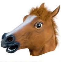 ingrosso maschera a cavallo senza lattice-Creepy Horse Mask Head Costume di Halloween Teatro Prop Novità in lattice di gomma Veloce DHL spedizione gratuita da olympia c163