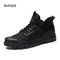 mens el yapımı deri rahat ayakkabılar toptan satış-2018 Süper Kış rahat ayakkabı erkekler Gerçek Deri el yapımı Kısa Bootie Erkek botları sıcak kış erkek spor ayakkabısı adam siyah RAPQUE