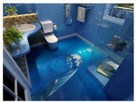 lindo papel tapiz de baño al por mayor-Personalizado 3D autoadhesivo piso foto mural papel tapiz 3D piso impermeable mar mundo lindo delfín baño piso azulejo pegatinas