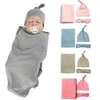 головной убор для девочек оптовых-Новорожденных Baby Girl Boy Пеленальный Wrap Твердая Одеяло спальный мешок + повязка + Hat Наряды Set