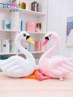 trucs de voiture rose achat en gros de-Blanc Swan Rose Peluche Animal De Collection En Peluche Jouets Oreiller Décoration De Voiture Mignon Saint Valentin Cadeaux Hot Toys Poupées