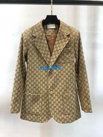 um breasted mulheres venda por atacado-High end mulheres meninas casaco de Moda Blazer Jacket impressão das mulheres carta de lapela Botões Double Breasted Blazer Outerwear uma cores SML