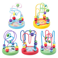 jouets à fileter achat en gros de-En bois mini perles rondes boulettes de viande Puzzle boulier filetage Blocs coordination main-œil infantile précoce éducation puzzle jouets en gros
