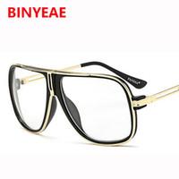 big framed glasses retro großhandel-Luxus Übergröße Sonnenbrille Männer 2018 Retro Designer Marke Metallrahmen Transparente Brillen Männliche Brille Big Shades UV400