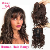 Wholesale Halo Lady Beauty Clip In Human Hair Bangs Invisible Body Wave Fringe Hair Brazilian Remy Toupees Toppers Air Bangs for Loss