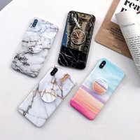 apfel iphone steht großhandel-Luxus tpu abdeckung ständer halterung handyhalter ständer marmor case für iphone xs max xr 8 7 6 s galaxy a10 a20 a30 a50 s9 s10 plus s10e note 9
