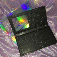 boş glitter box toptan satış-Boş Kirpikler Kitap Özel Kirpikler Ambalaj Holografik Kutu Siyah Glitter Kitap 4 Pairs Lashes FDshine Tutabilir