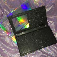 caixa de brilho vazia venda por atacado-Cílios vazios livro personalizado cílios embalagem caixa holográfica livro de brilho preto pode segurar 4 pares cílios FDshine