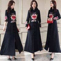 bordados vestidos de linho chinês venda por atacado-Mulheres tradicionais chinesas longo cheongsam vestido bordado magro vestido robe Retro elegante vestido de algodão de linho Tang terno roupas étnicas
