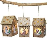 pequenas decorações de árvore de natal venda por atacado-Árvore de Natal pequena luz LED Casa em madeira pingentes Ano Novo decorações para casa Tabela Xmas Tree pendurando enfeites Decor