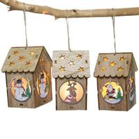 adornos para la casa Pequea Luz LED Casa De Madera Rbol De Navidad Colgantes Ao Nuevo Decoraciones Para Casa De Los Ornamentos Del Rbol De Navidad Que Cuelga De La