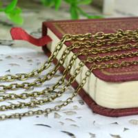 mücevherata bronz zincir toptan satış-Çapraz O şekli Istakoz Kapat Takı ile Zincir Takı DIY Kolye Kolye Bulma Yapımı için Antik Bronz Siyah 3 renk Zincirleri 0.7mm