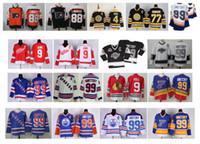 ingrosso raggi blu-Vintage Kings 99 Wayne Gretzky maglia 9 Gordie Howe 9 Bobby Hull 4 Bobby Orr 88 Eric Lindros 77 Ray Bourque Rangers St Louis Blues Hockey