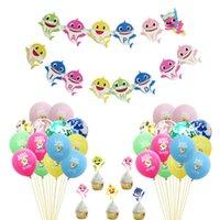 kek kekleri toptan satış-Çocuklar Bebek Köpekbalığı Balonlar + Karikatür Kek Kartları Kürdan Cupcake Ekler Kart + Pul Balon + Dize Bayrakları Set Parti Malzemeleri Decros C71105