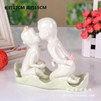 Wholesale black dog art resale online - Creative couple dog ornaments simple ceramic crafts modern home furnishings room decorations fashion gifts