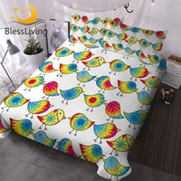 Wholesale bird comforter sets for sale - Group buy BlessLiving Tie Dyed Chicks Bed Cover Set Colorful Comforter Cover Cartoon Birds Kids Bedding Set Single Lovely Bedspreads