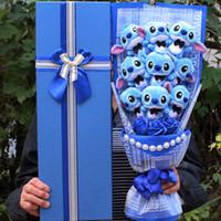 doldurulmuş çiçekler oyuncakları toptan satış-Dikiş buket anime peluş şeyler oyuncaklar kızlar için yumuşak çiçekler festivaller kız arkadaşı için doğum günü sevgililer hediyeler