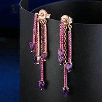 amatista lágrima al por mayor-Multifunción Natrual TearDrop Amethyst 925 plata esterlina Pendientes colgantes Oro rosa Color S925 joyería Para mujeres