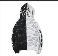 ingrosso scheletro cerniera-New Skeleton Bones Camouflage Stitch Hooded Jacket Cardigan da uomo Felpe con cerniera con cappuccio Streetwear Dark Wind Black Fashion Jacket T