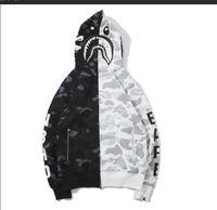 fermuarlı iskelet toptan satış-Yeni İskelet Kemikleri Kamuflaj Dikiş Kapüşonlu Ceket erkek Hırka Fermuar Kapüşonlu Tişörtü Streetwear Koyu Rüzgar Siyah Moda Ceket T