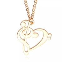 pingente de ouro musical venda por atacado-Atacado-minimalista moda simples coração oco em forma de nota musical colar de pingente de música de jóias de prata de ouro presente especial