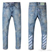 homens jeans brancos angustiados venda por atacado-2019 Designer Mens Distressed White off Jeans EUA Tamanho 29-42 Slim Fit Motociclista Motociclista Denim Para Homens Marca Designer Hip Hop Mens jeans