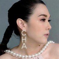pendientes de aleación de diamantes de imitación al por mayor-DIY Aleación Rhinestone Carta CHA Drop Cuelga Los Pendientes Para Las Mujeres Joyería de Moda Pendientes Declaración de Moda Accesorios T233