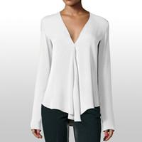 bluz uzun kollu kore toptan satış-Beyaz Bluz Uzun Kollu Şifon Bluz Çift V Yaka Kadın Üstleri ve Bluzlar Katı Ofis Gömlek Bayan Gömlek Güney Kore