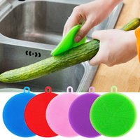 Wholesale cloth dust roller resale online - Creative silicone washing bowl brush cleaning multi functional wash cloth dirty washing pot brush cleaning rag insulation mat