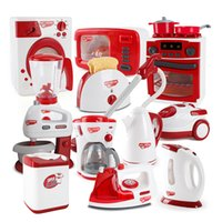 Wholesale play kitchens resale online - Children Pretend Play Kitchen Toys Red Simulation Household Appliances Toaster Vacuum Cleaner Cooker Blender Toy For Kids
