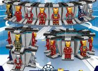 minik süper kahramanlar toptan satış-64002/64029 8 adet süper kahramanlar demir adam örümcekler-adam yapı taşları tuğla minifigures bebek oyuncakları çocuk hediye eğitim modeli