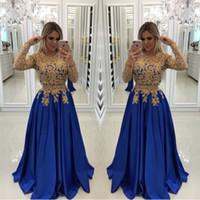 kraliyet mavisi forması kıyafetler toptan satış-Seksi Kraliyet Mavi Altın Dantel Boncuk Abiye Kaftan Örgün Törenlerinde Ile Illusion Uzun Kollu Sequins Saten Balo Pageant Elbise Abiye