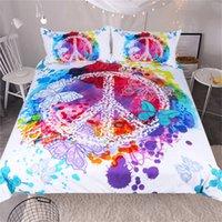 colcha de borboletas venda por atacado-Borboleta Aquarela cama Set colorido impresso capa do edredon Com fronhas Projeto da paz Jogo de Cama de 3 peças