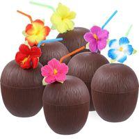ingrosso fiori di spiaggia hawaii-Bicchieri in plastica per ananas Tazza per frutta con fiori di ibisco Straw Hawaii Compleanno Summer Beach 4 5xca F1