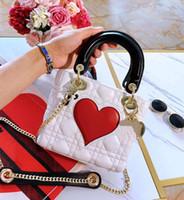 bolsos de marca de melocotón al por mayor-2019 Nuevo patrón de la marca francesa bolsos de diseñador de moda de lujo Valentine Day Limited Peach Heart bolso de mano tote Lady bolso de cuero