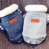 Wholesale pink jackets outfits resale online - Winter Jacket Puppy Clothes Outfits Denim Coat Jeans Costume Chihuahua Poodle Bichon Pet Dog Clothing Apparel T8190706
