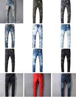 ingrosso jeans di qualità dei ragazzi-Della pista di modo Biker Jeans Uomo Nuovo design di arrivo dimagriscono i jeans adatti per gli uomini di buona qualità Blu Nero Casual Denim Pants Boy Skinny Jeans